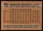 1988 Topps #424  Dwayne Murphy  Back Thumbnail
