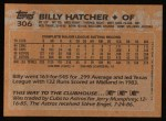 1988 Topps #306  Billy Hatcher  Back Thumbnail