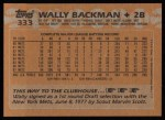 1988 Topps #333  Wally Backman  Back Thumbnail