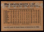 1988 Topps #192  Devon White  Back Thumbnail