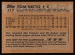 1988 Topps #317  Tom Nieto  Back Thumbnail