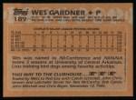 1988 Topps #189  Wes Gardner  Back Thumbnail