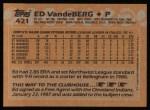 1988 Topps #421  Ed VandeBerg  Back Thumbnail