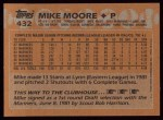 1988 Topps #432  Mike Moore  Back Thumbnail