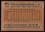 1988 Topps #697  Steve Lombardozzi  Back Thumbnail