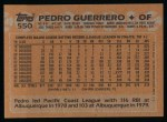 1988 Topps #550  Pedro Guerrero  Back Thumbnail