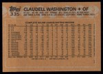 1988 Topps #335  Claudell Washington  Back Thumbnail