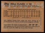 1988 Topps #350  Will Clark  Back Thumbnail