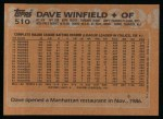 1988 Topps #510  Dave Winfield  Back Thumbnail