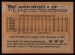 1988 Topps #712  John Moses  Back Thumbnail