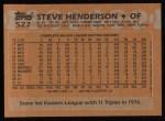 1988 Topps #527  Steve Henderson  Back Thumbnail