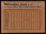 1988 Topps #611  Tommy John  Back Thumbnail