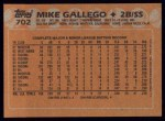 1988 Topps #702  Mike Gallego  Back Thumbnail