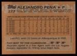 1988 Topps #277  Alejandro Pena  Back Thumbnail