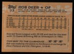 1988 Topps #33  Rob Deer  Back Thumbnail