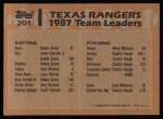 1988 Topps #201   Rangers Leaders Back Thumbnail