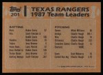 1988 Topps #201   Rangers Leaders Back Thumbnail