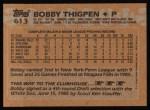 1988 Topps #613  Bobby Thigpen  Back Thumbnail