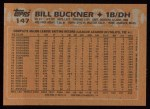 1988 Topps #147  Bill Buckner  Back Thumbnail