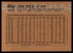 1988 Topps #675  Jim Rice  Back Thumbnail