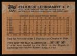 1988 Topps #569  Charlie Leibrandt  Back Thumbnail