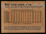 1988 Topps #310  Tom Herr  Back Thumbnail