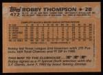 1988 Topps #472  Robby Thompson  Back Thumbnail