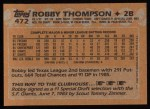 1988 Topps #472  Robby Thompson  Back Thumbnail