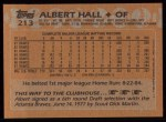 1988 Topps #213  Albert Hall  Back Thumbnail