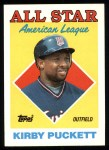 1988 Topps #391   -  Kirby Puckett All-Star Front Thumbnail
