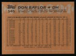 1988 Topps #545  Don Baylor  Back Thumbnail