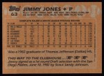 1988 Topps #63  Jimmy Jones  Back Thumbnail