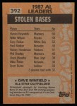 1988 Topps #392   -  Dave Winfield All-Star Back Thumbnail