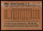 1988 Topps #615  Jody Davis  Back Thumbnail