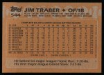 1988 Topps #544  Jim Traber  Back Thumbnail