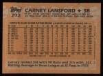 1988 Topps #292  Carney Lansford  Back Thumbnail