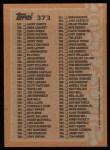1988 Topps #373   Checklist 265 - 396 Back Thumbnail