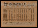 1988 Topps #54  Jim Clancy  Back Thumbnail