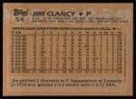 1988 Topps #54  Jim Clancy  Back Thumbnail