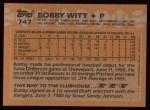 1988 Topps #747  Bobby Witt  Back Thumbnail