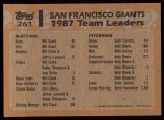 1988 Topps #261   Giants Leaders Back Thumbnail