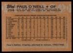 1988 Topps #204  Paul O'Neill  Back Thumbnail