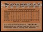 1988 Topps #687  Mickey Brantley  Back Thumbnail
