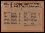1988 Topps #231   -  Barry Bonds / Bobby Bonilla Pirates Leaders Back Thumbnail