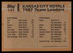 1988 Topps #141   -  George Brett / Bret Saberhagen Royals Leaders Back Thumbnail