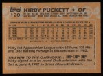 1988 Topps #120  Kirby Puckett  Back Thumbnail
