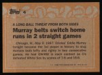 1988 Topps #4   -  Eddie Murray Record Breaker Back Thumbnail