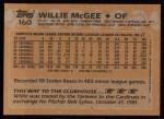 1988 Topps #160  Willie McGee  Back Thumbnail