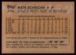 1988 Topps #256  Ken Schrom  Back Thumbnail