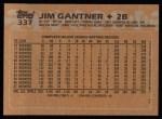 1988 Topps #337  Jim Gantner  Back Thumbnail